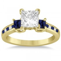 Blue Sapphire Three Stone Engagement Ring in 14k Yellow Gold (0.62ct)