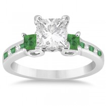 Emerald Three Stone Engagement Ring in 14k White Gold (0.62ct)
