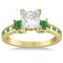 Emerald Three Stone Engagement Ring in 14k Yellow Gold (0.62ct)