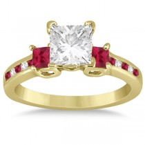 Ruby Three Stone Engagement Ring in 14k Yellow Gold (0.62ct)