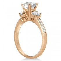 Three-Stone Princess Cut Diamond Engagement Ring in 14k Rose Gold (0.64 ctw)