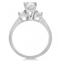 Three-Stone Princess Cut Diamond Engagement Ring 14k White Gold (0.64ct)