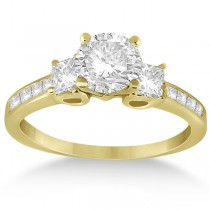 Three-Stone Princess Cut Diamond Engagement Ring 18k Yellow Gold (0.64 ct)
