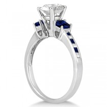Princess Cut Diamond & Sapphire Engagement Ring 14k White Gold (0.68ct)