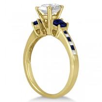 Princess Cut Diamond & Sapphire Engagement Ring 14k Yellow Gold (0.68ct)