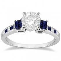 Princess Cut Diamond & Sapphire Engagement Ring 18k White Gold (0.68ct)