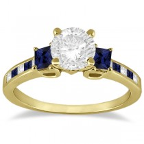Princess Cut Diamond & Sapphire Engagement Ring 18k Yellow Gold (0.68ct)