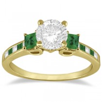 Princess Cut Diamond & Emerald Engagement Ring 18k Yellow Gold (0.68ct)