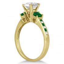 Princess Cut Diamond & Emerald Engagement Ring 18k Yellow Gold (0.68ct)