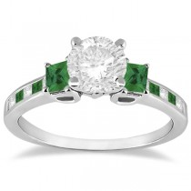Princess Cut Diamond & Emerald Engagement Ring Palladium (0.64ct)