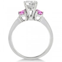 Princess Cut Diamond & Pink Sapphire Engagement Ring 14k W Gold (0.68ct)