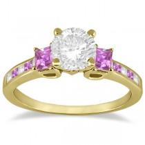 Princess Cut Diamond & Pink Sapphire Engagement Ring 14k Y Gold (0.68ct)