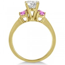 Princess Cut Diamond & Pink Sapphire Engagement Ring 14k Y Gold (0.68ct)