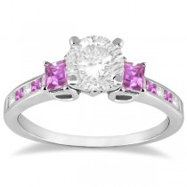 Princess Cut Diamond & Pink Sapphire Engagement Ring 18k W Gold (0.68ct)