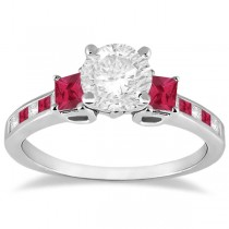 Princess Cut Diamond & Ruby Engagement Ring 18k White Gold (0.68ct)