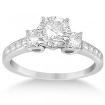 Three-Stone Princess Cut Diamond Engagement Ring Palladium (0.64ct)