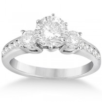 Three-Stone Diamond Engagement Ring with Sidestones in 18k White Gold (0.45 ctw)