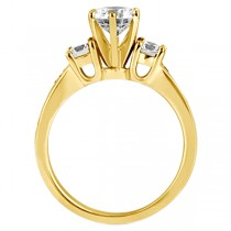 Three-Stone Diamond Engagement Ring with Sidestones in 18k Yellow Gold (0.45 ctw)