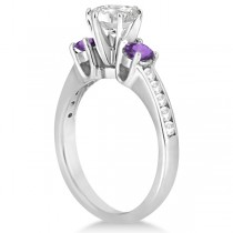 Three-Stone Amethyst & Diamond Engagement Ring 14k White Gold (0.45ct)