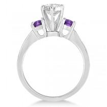 Three-Stone Amethyst & Diamond Engagement Ring 14k White Gold (0.45ct)