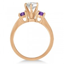Three-Stone Amethyst & Diamond Engagement Ring 18k Rose Gold (0.45ct)