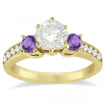 Three-Stone Amethyst & Diamond Engagement Ring 18k Yellow Gold 0.45ct