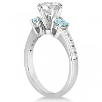 Three-Stone Aquamarine & Diamond Engagement Ring 14k White Gold 0.45ct