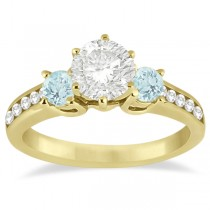 Three-Stone Aquamarine & Diamond Engagement Ring 18k Y. Gold (0.45ct)