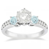 Three-Stone Aquamarine & Diamond Engagement Ring Palladium (0.45ct)