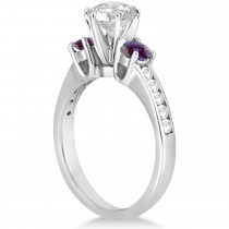 Three-Stone Diamond Engagement Ring with Lab Alexandrites in 14k White Gold (0.45 ctw)
