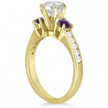Three-Stone Diamond Engagement Ring with Lab Alexandrites in 14k Yellow Gold (0.45 ctw)