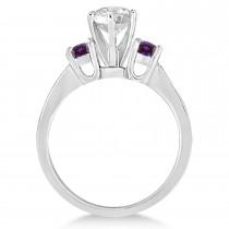 Three-Stone Diamond Engagement Ring w/ Lab Alexandrites Palladium (0.45ct)