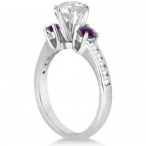 Three-Stone Diamond Engagement Ring w/ Lab Alexandrites Platinum (0.45ct)
