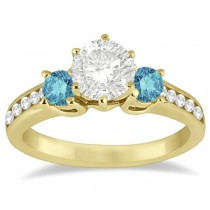3 Stone White & Blue Diamond Engagement Ring 14K Yellow Gold (0.45 ctw)