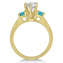 3 Stone White & Blue Diamond Engagement Ring 14K Yellow Gold (0.45 ctw)