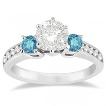 3 Stone White & Blue Diamond Engagement Ring Platinum Setting (0.45 ctw)