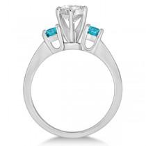 3 Stone White & Blue Diamond Engagement Ring Platinum Setting (0.45 ctw)