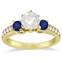 Three-Stone Sapphire & Diamond Engagement Ring 18k Yellow Gold (0.60ct)
