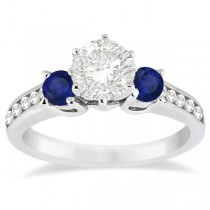 Three-Stone Sapphire & Diamond Engagement Ring Platinum (0.60ct)