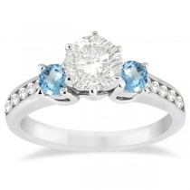 Three-Stone Blue Topaz & Diamond Engagement Ring 14k White Gold 0.45ct