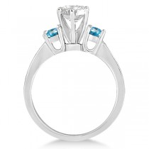 Three-Stone Blue Topaz & Diamond Engagement Ring 18k White Gold 0.45ct