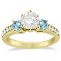 Three-Stone Blue Topaz & Diamond Engagement Ring 18k Y. Gold (0.45ct)