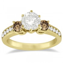 White & Champagne Diamond Engagement Ring 14K Yellow Gold (0.45 ctw)
