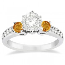 Three-Stone Citrine & Diamond Engagement Ring 14k White Gold (0.45ct)