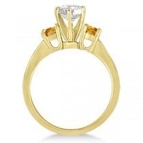 Three-Stone Citrine & Diamond Engagement Ring 14k Yellow Gold (0.45ct)