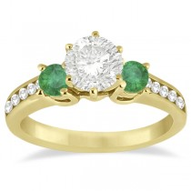 Three-Stone Emerald & Diamond Engagement Ring 14k Yellow Gold (0.45ct)