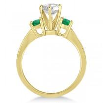 Three-Stone Emerald & Diamond Engagement Ring 14k Yellow Gold (0.45ct)
