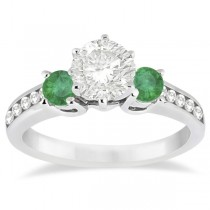 Three-Stone Emerald & Diamond Engagement Ring 18k White Gold (0.45ct)