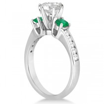 Three-Stone Emerald & Diamond Engagement Ring Platinum (0.45ct)