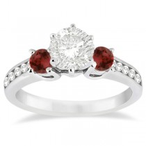 Three-Stone Garnet & Diamond Engagement Ring 18k White Gold (0.45ct)